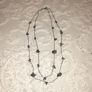 Silver double chain long necklace
